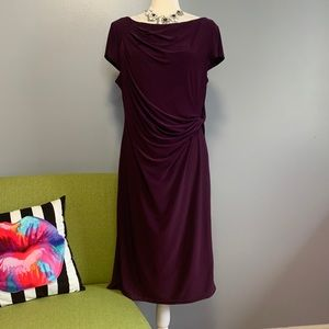 Eliza J Purple Ruched Tie Waist Dress